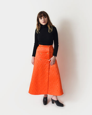 Vintage 1970s Quilted Satin Skirt