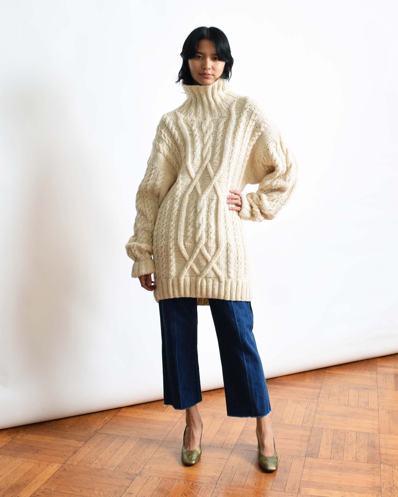 Vintage Oversized Cable Knit Sweater