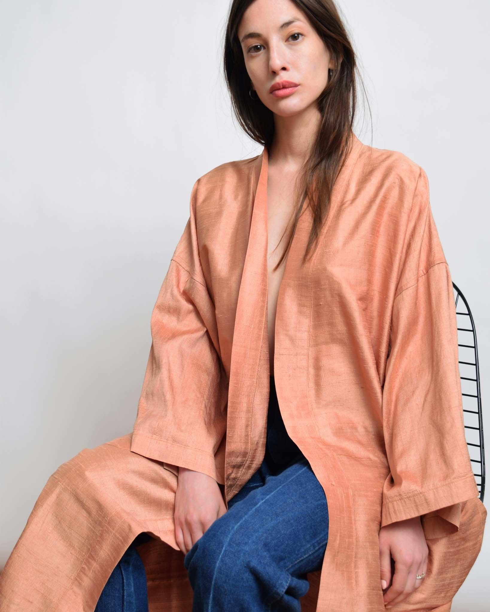 Vintage Peach Silk Robe Duster