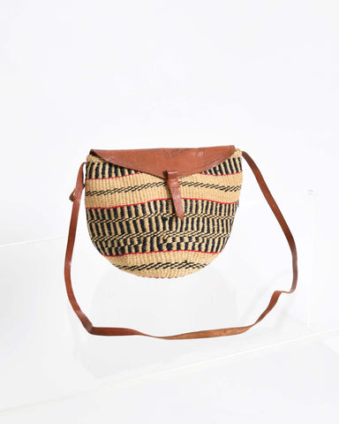 Vintage 1950s Wood Handle Raffia Handbag