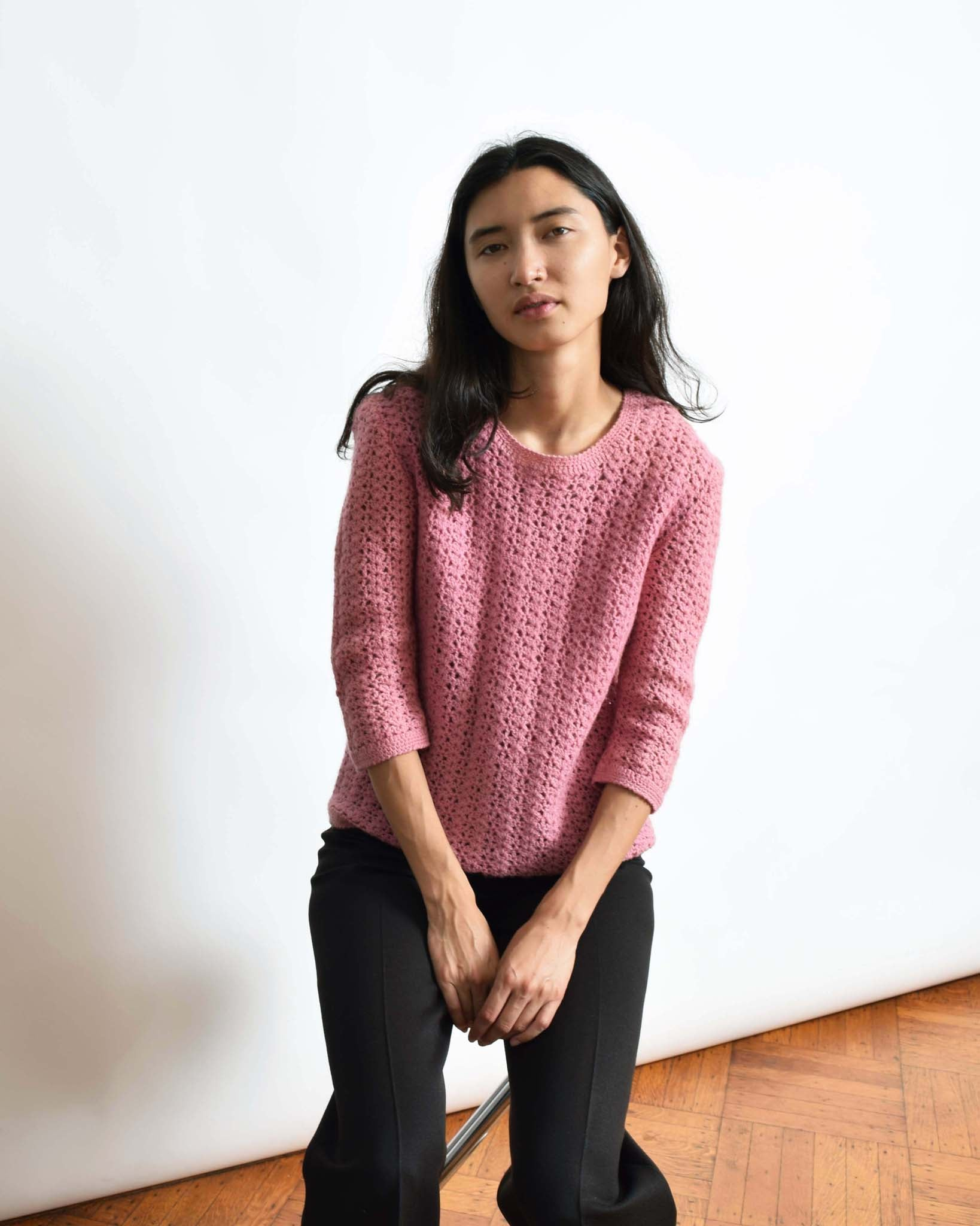 Vintage Rose Knit Sweater Top