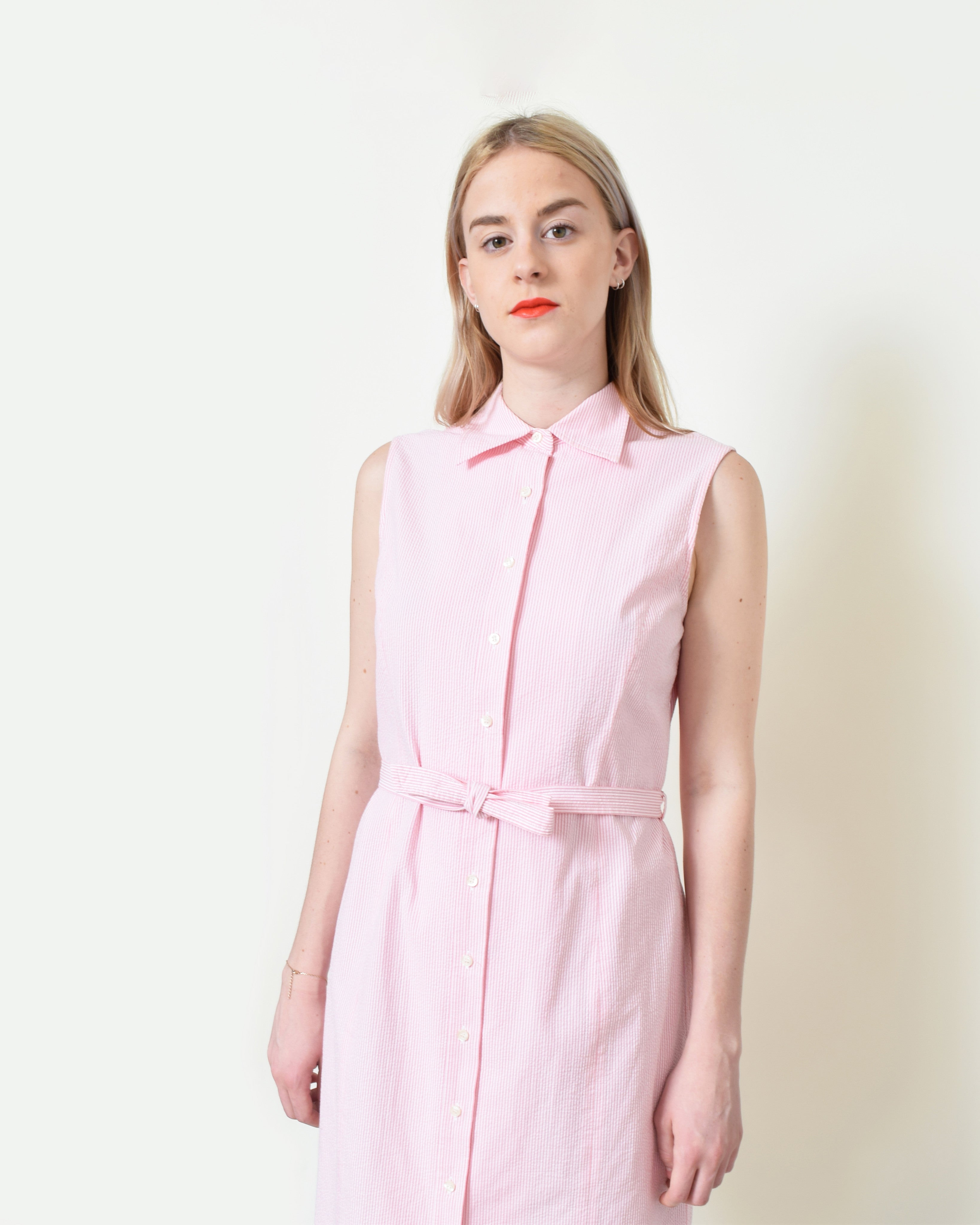 Vintage Seersucker Shirt Dress