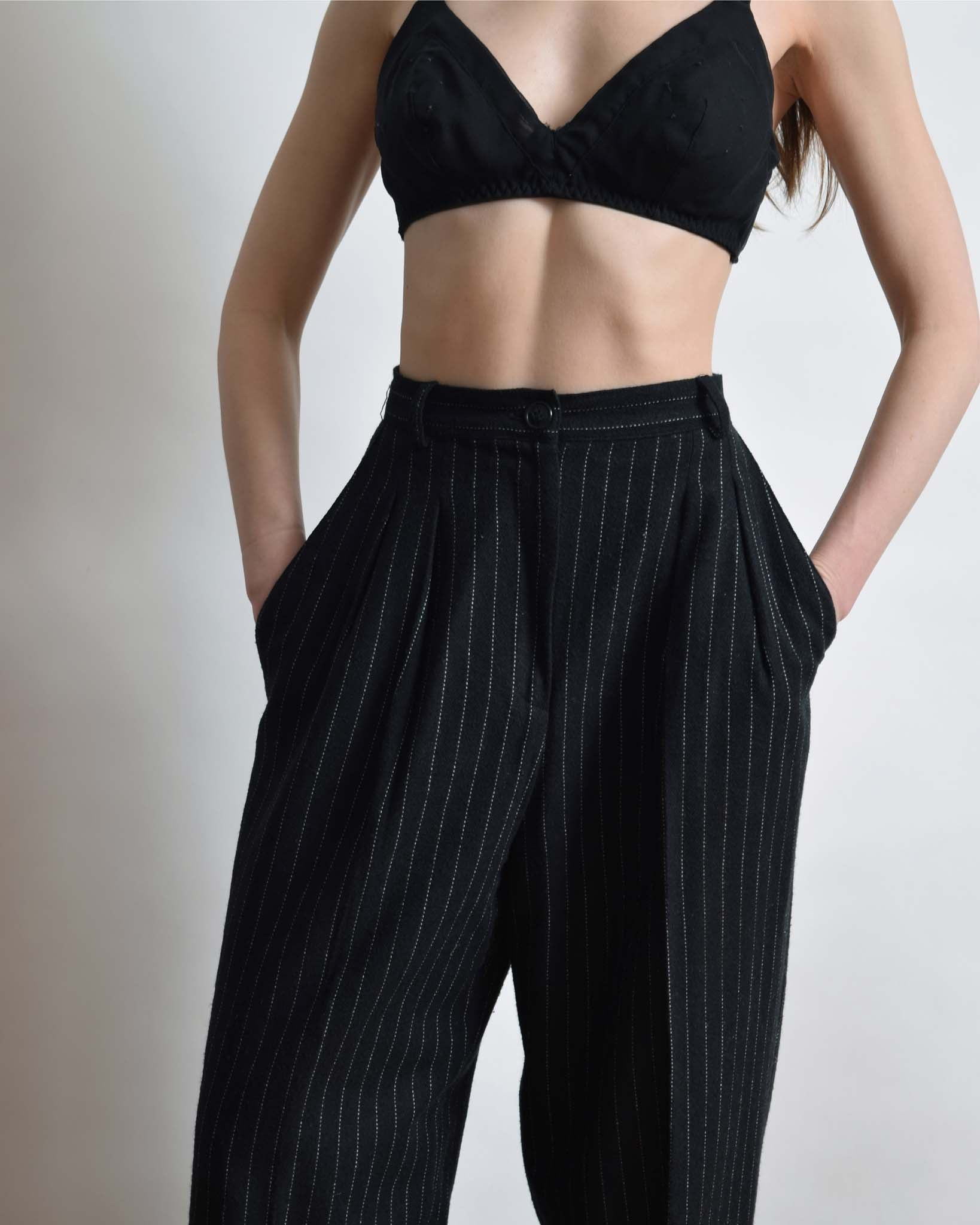 Vintage Pinstriped Wool Trousers