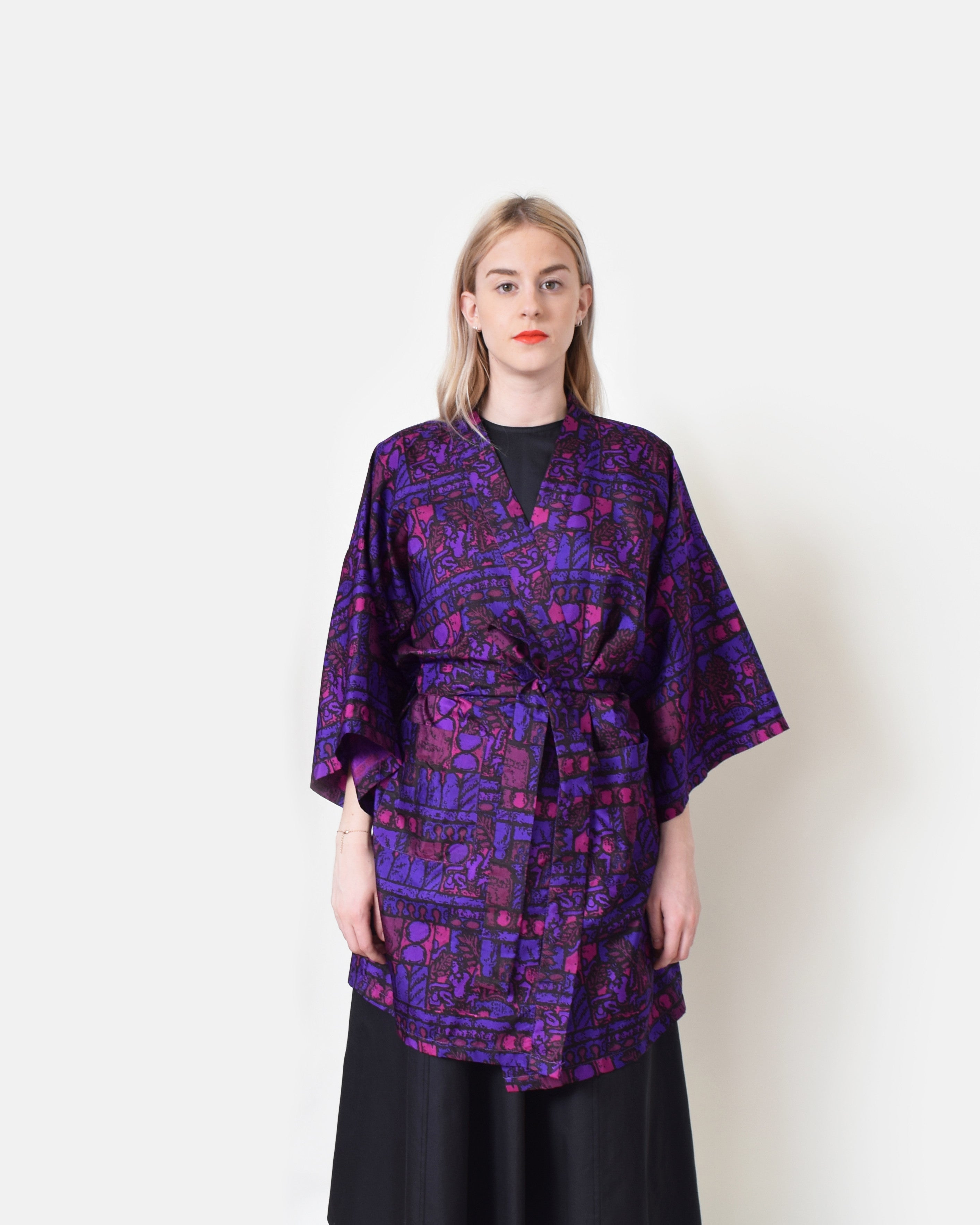Vintage Abstract Silk Robe Jacket