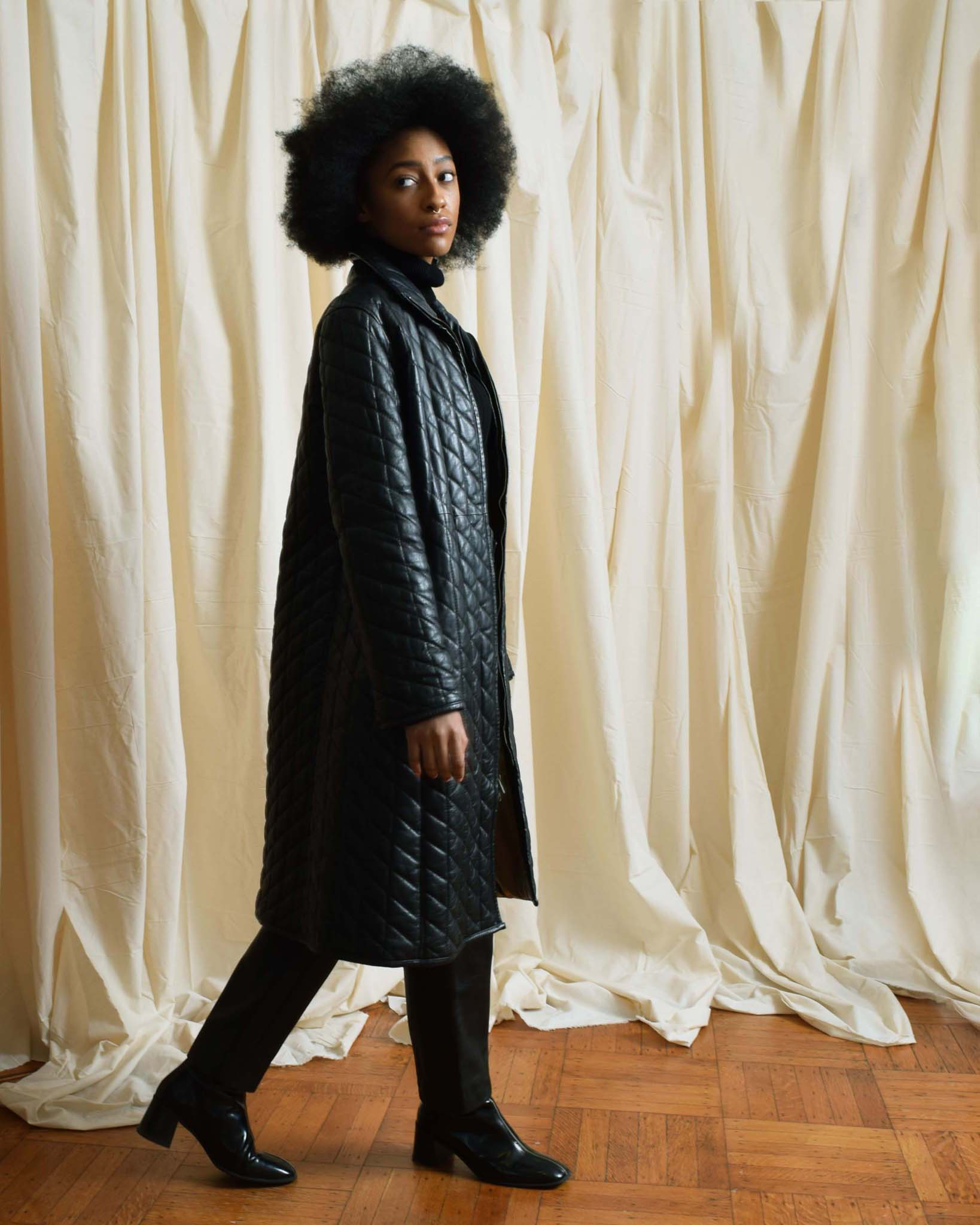 Vintage Quilted Leather Coat