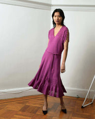Vintage 1970s Raspberry Knit Dress