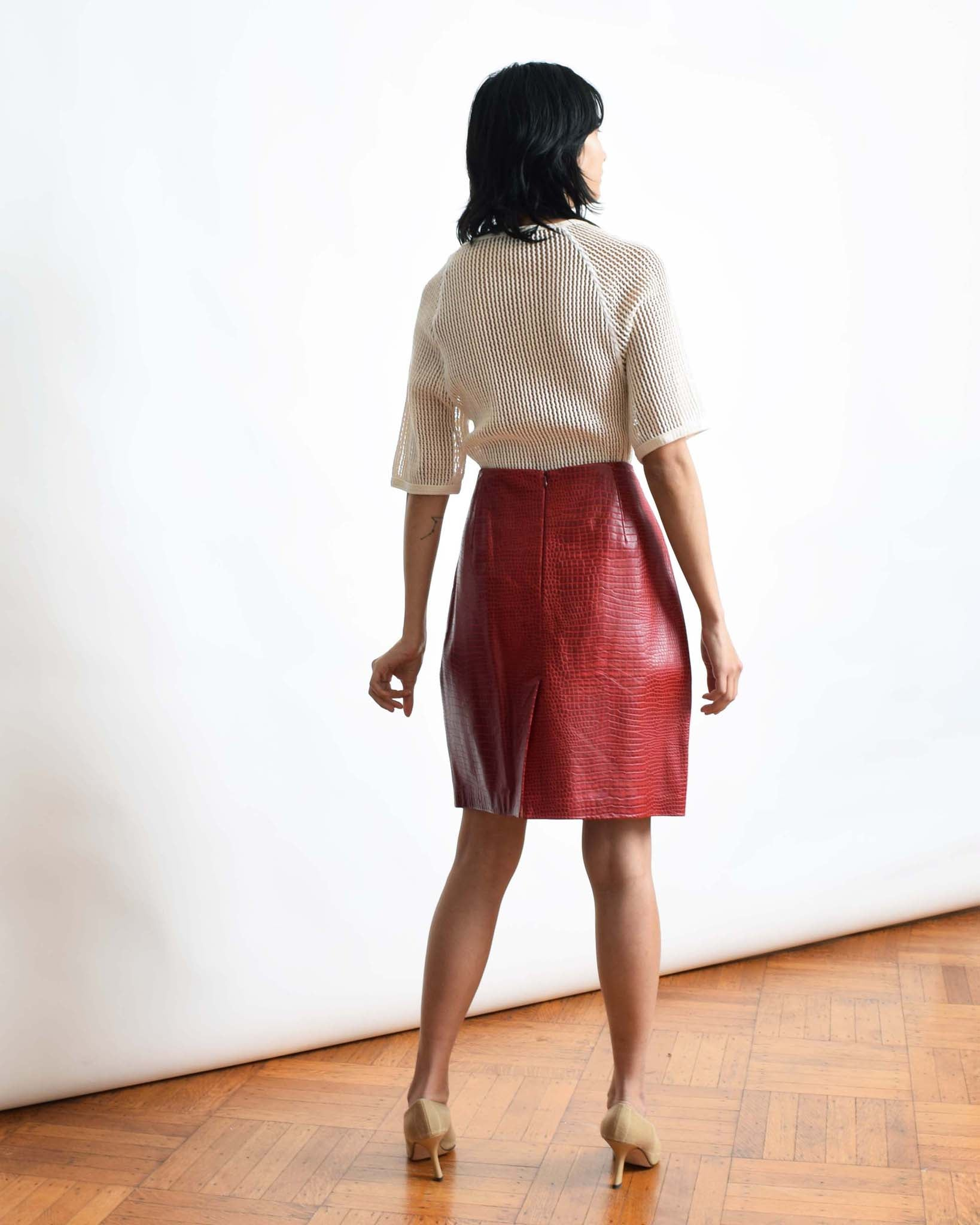 Vintage Red Moc Croc Skirt
