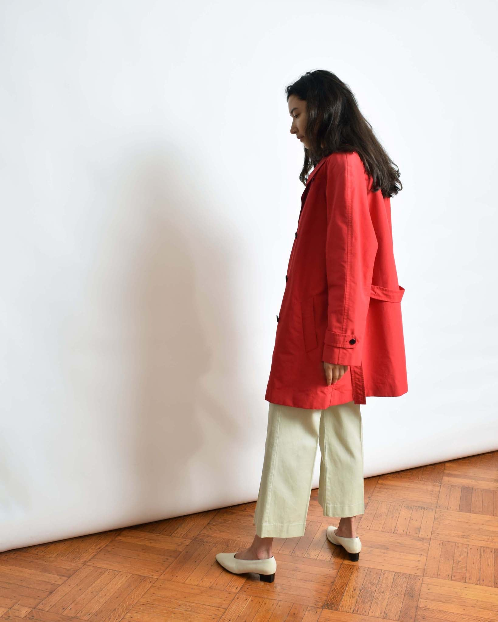 Vintage Red Trench Coat