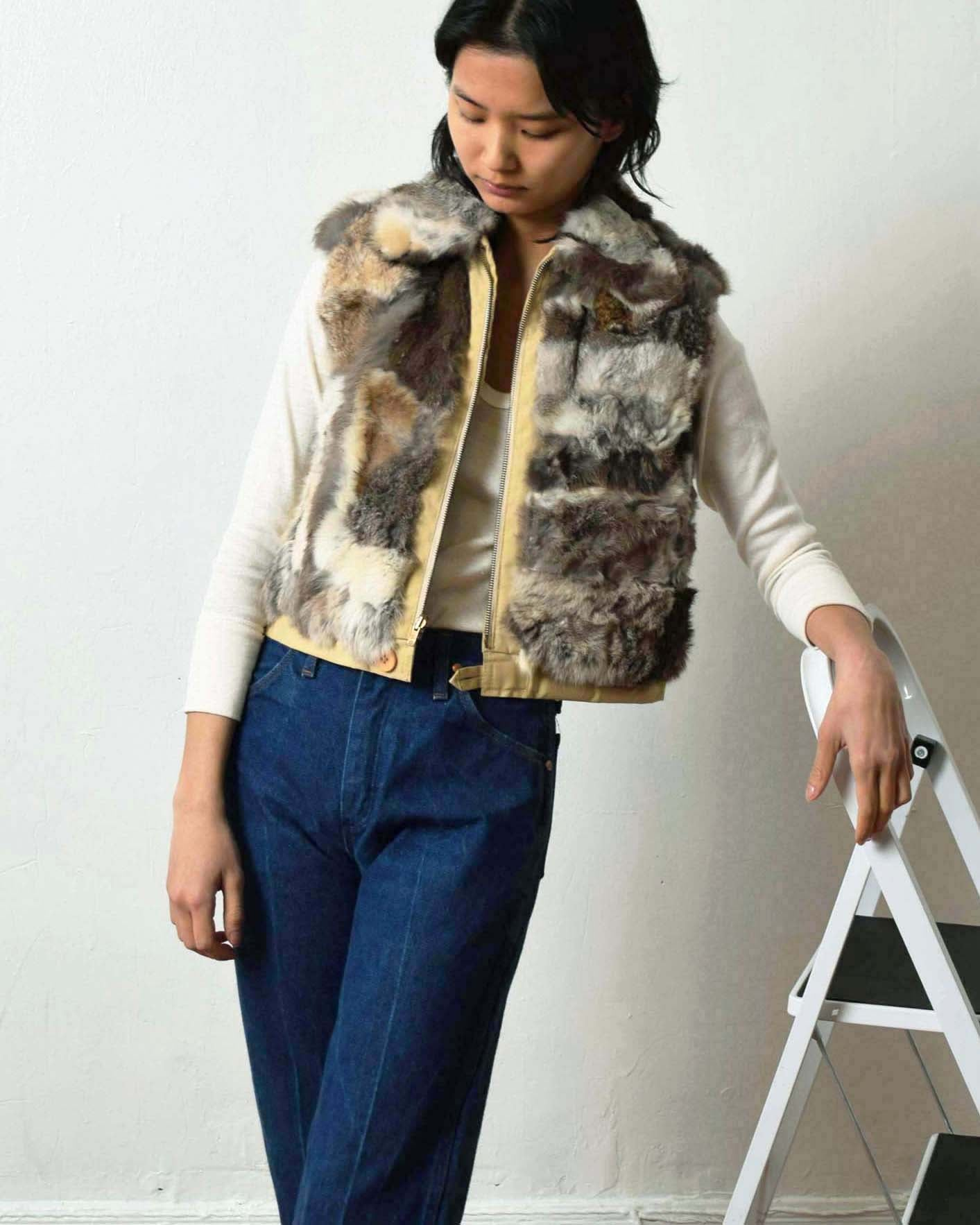 Vintage Patchwork Rabbit Fur Vest