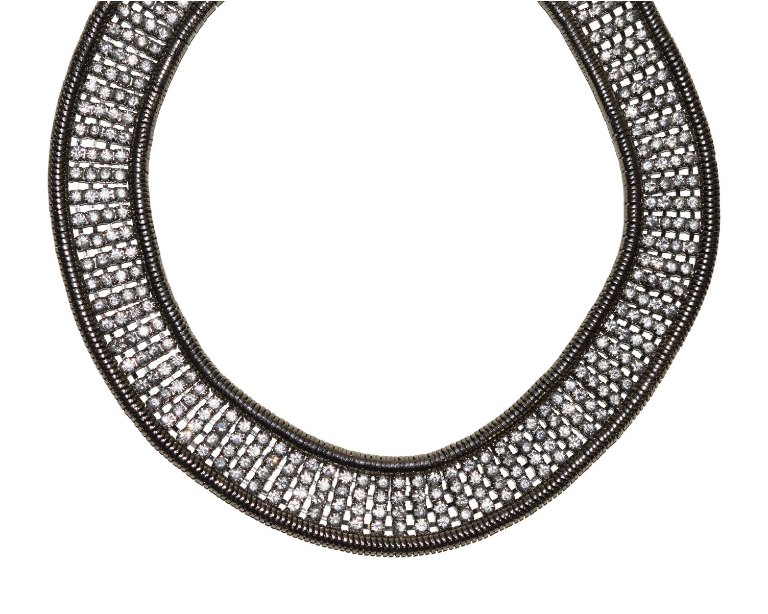 Vintage Rhinestone Snake Chain Collar Necklace