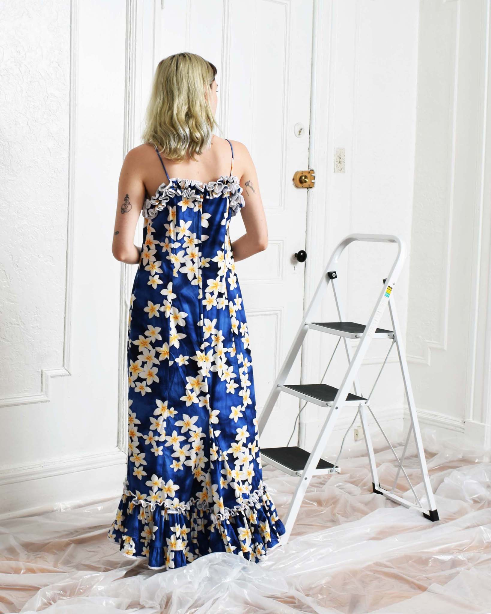 Vintage Ruffled Blue Floral Dress