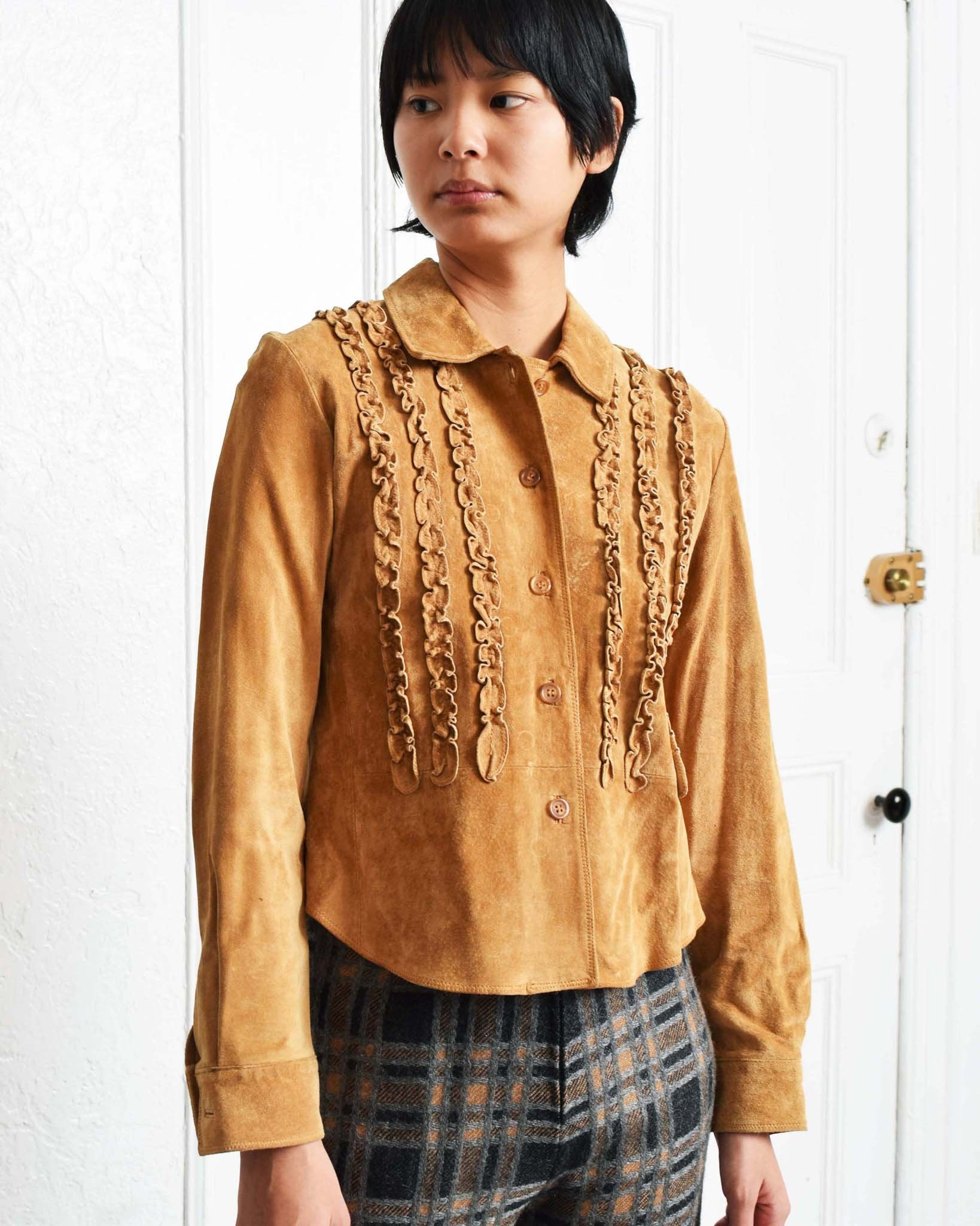 Vintage Ruffled Suede Shirt