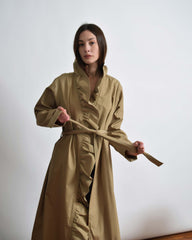 Vintage 1970s Ruffled Trench Coat