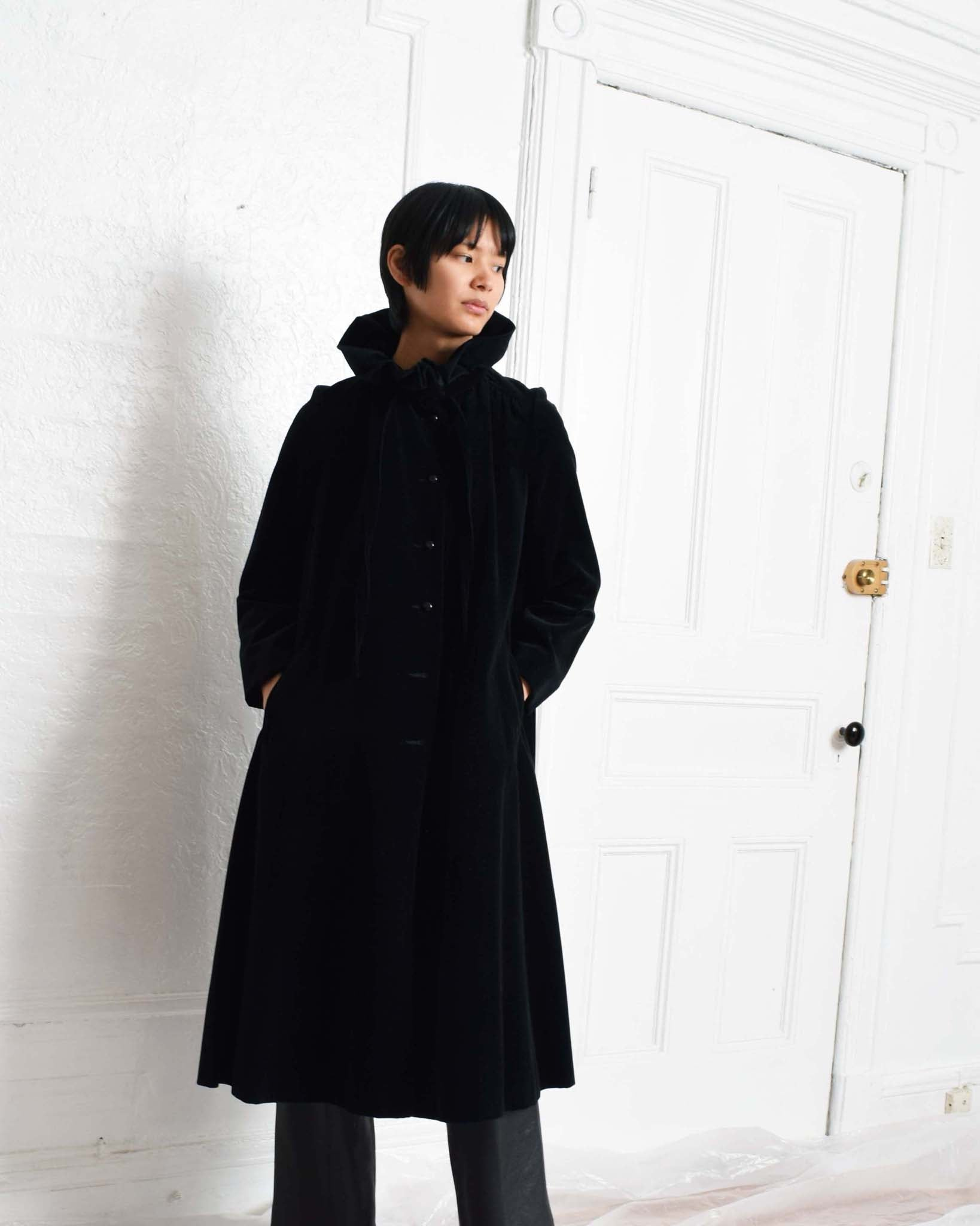 Vintage Ruffled Velvet Coat