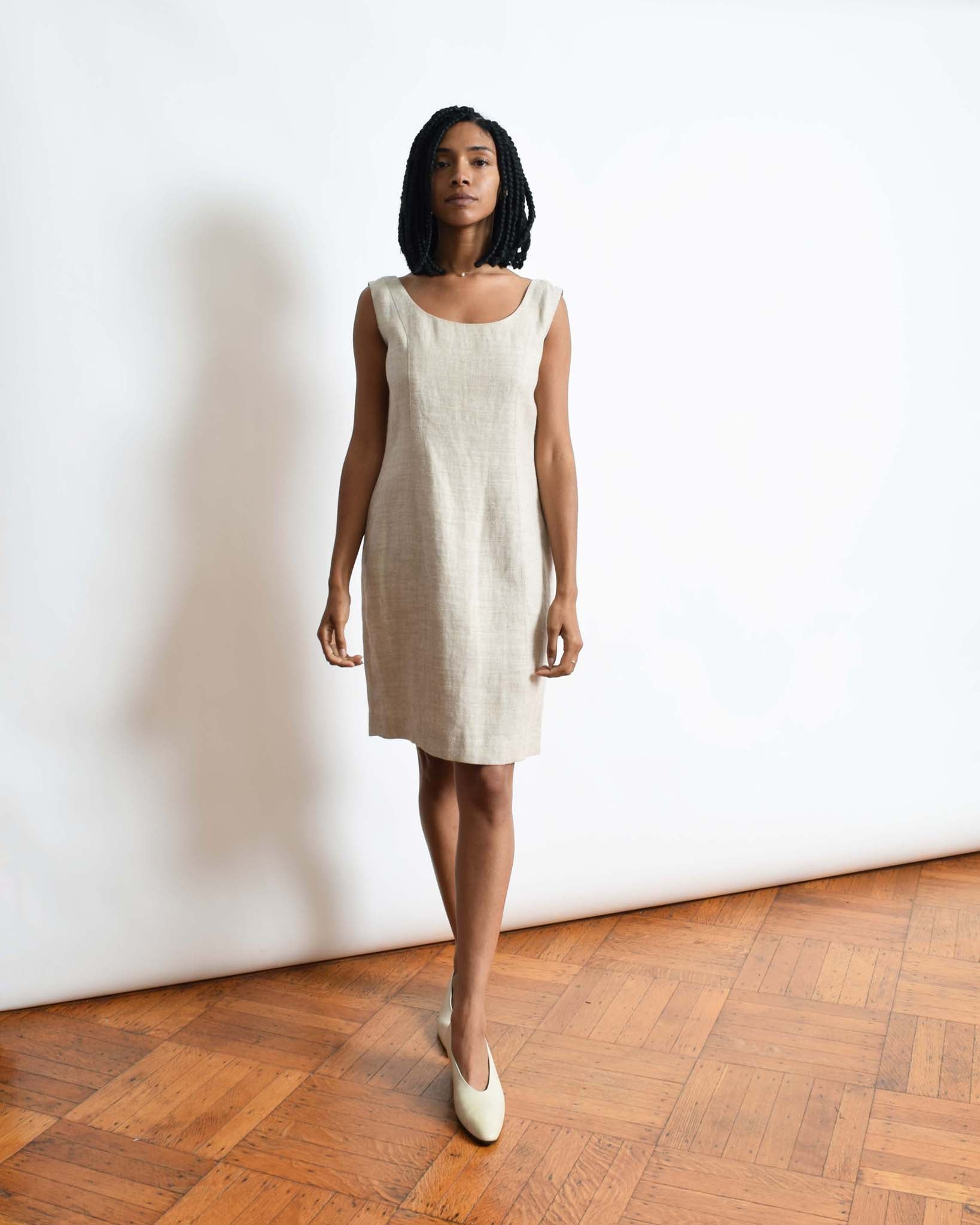 Vintage Minimal Linen Sheath Dress
