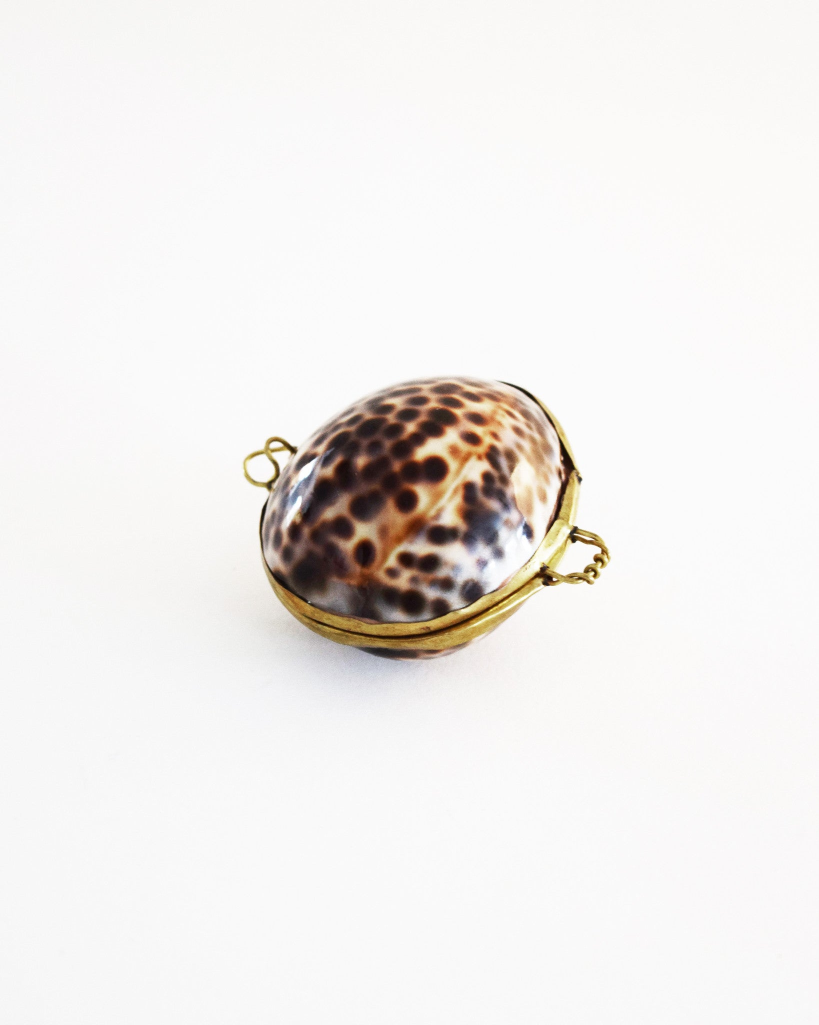 Vintage Spotted Shell Coin Purse Pendant