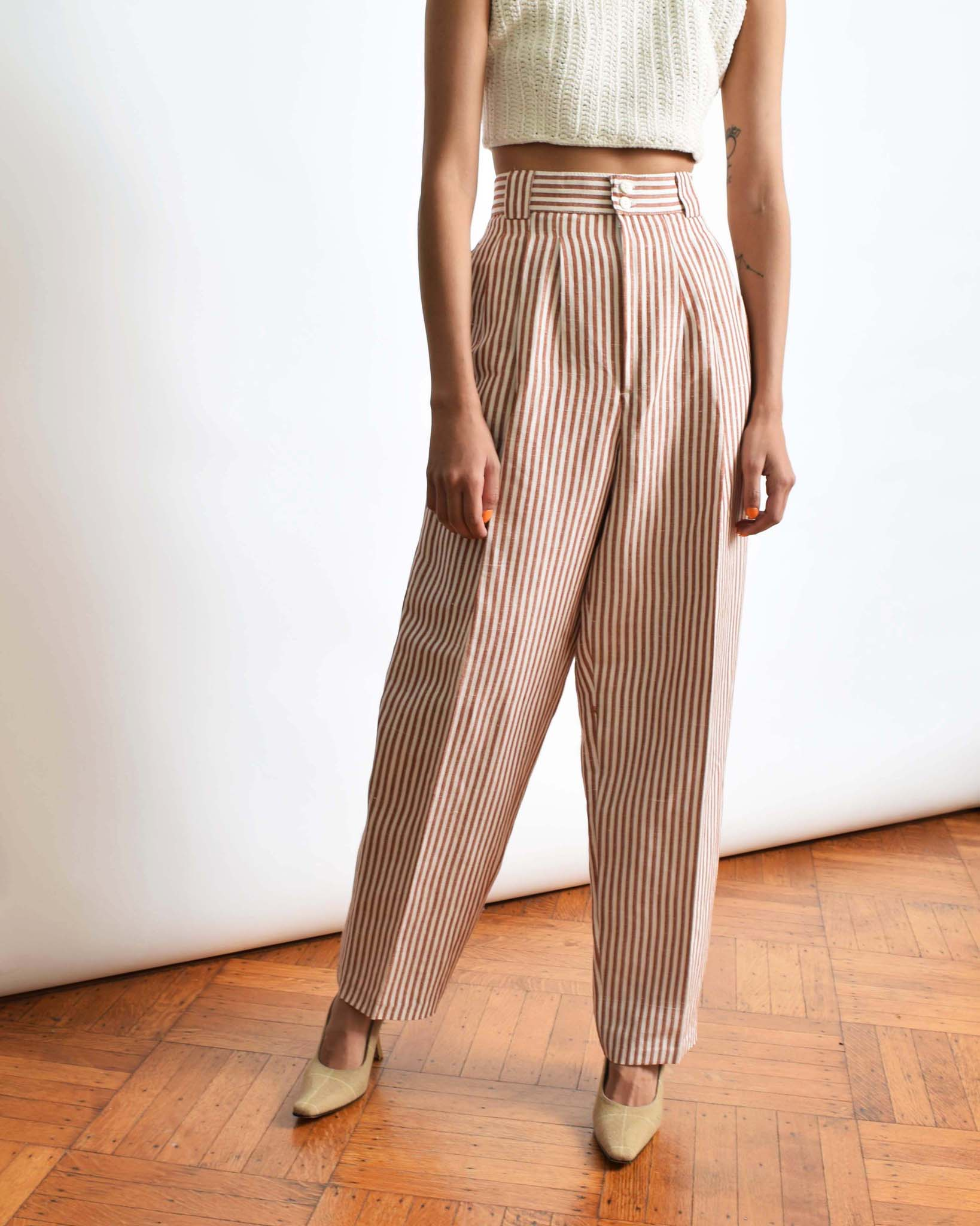 "Vintage Striped Linen Trousers, 29.5""W"