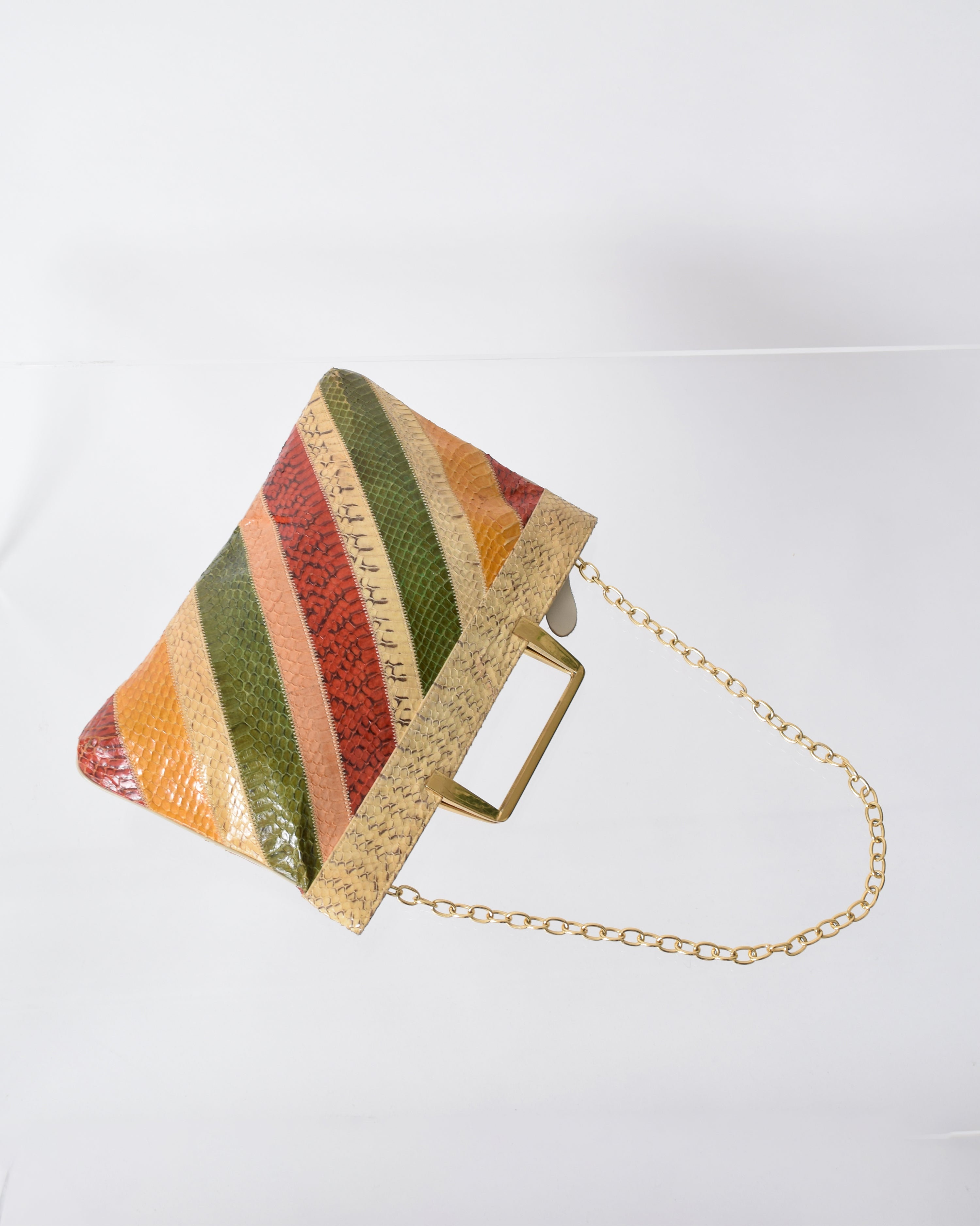 Vintage Striped Snakeskin Handbag