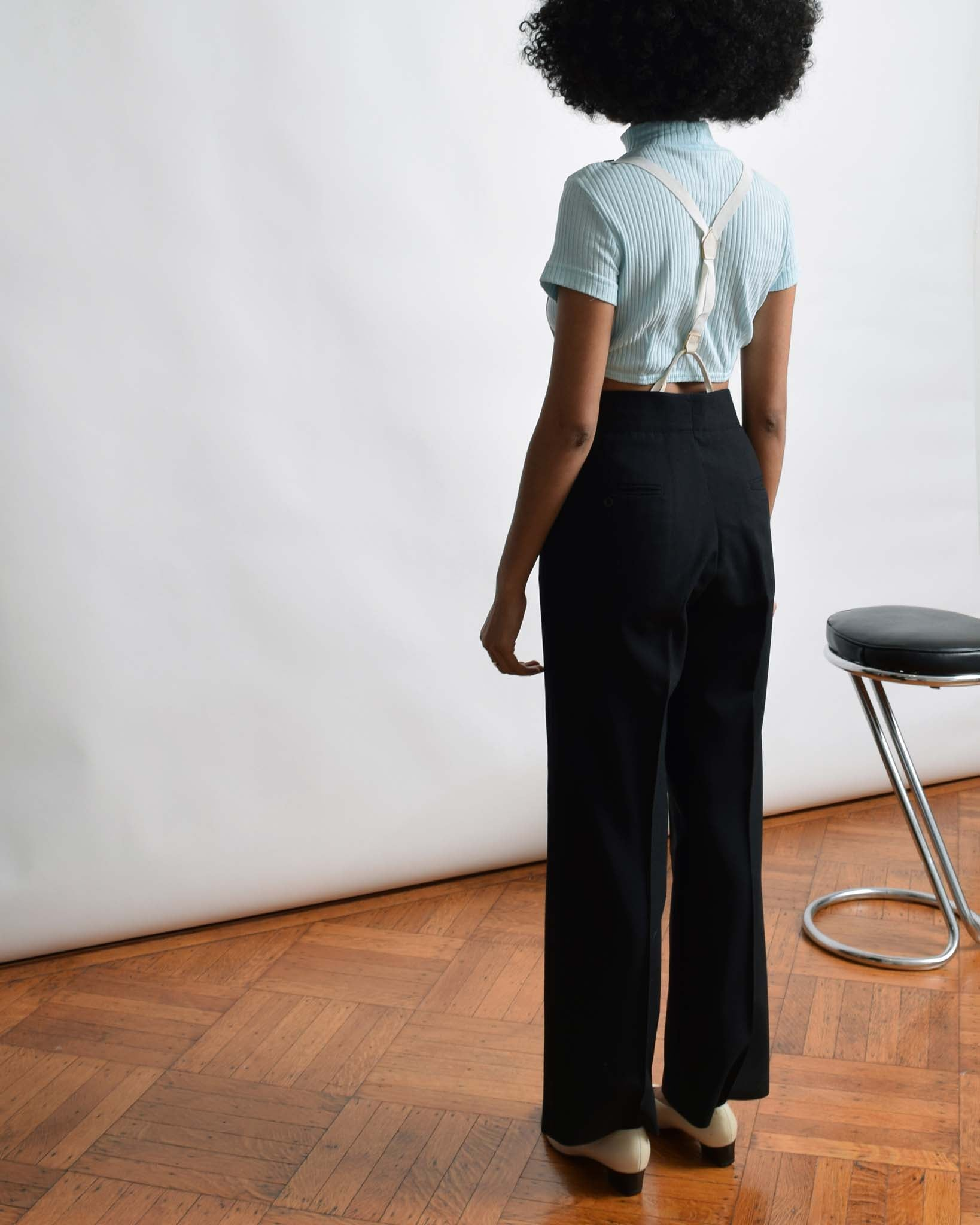 Vintage Black Tuxedo Trousers with Suspenders