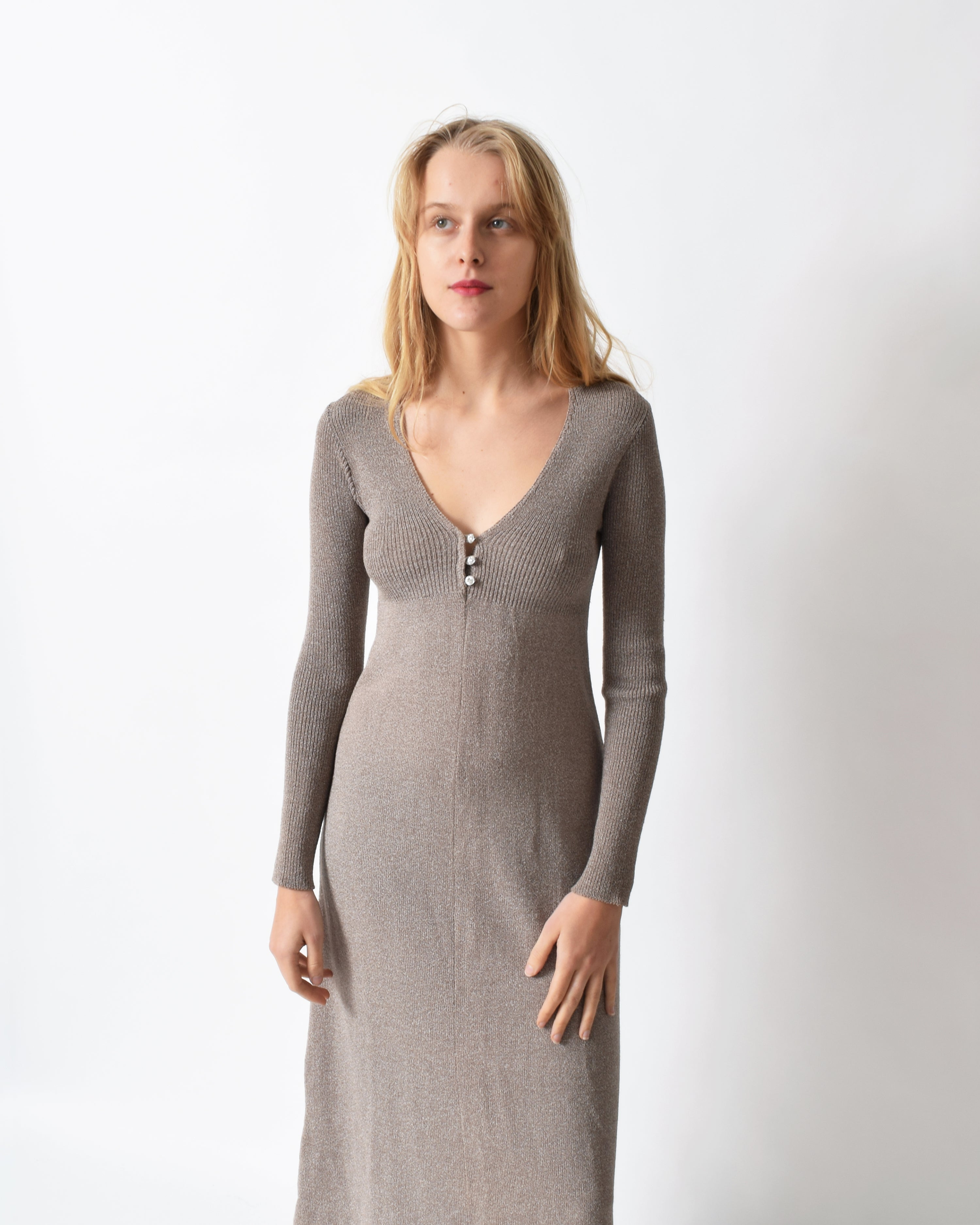 Vintage 1970s Taupe Sweater Dress