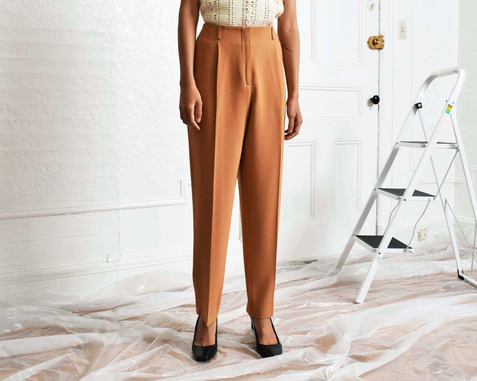 Vintage Tawny Crepe Trousers