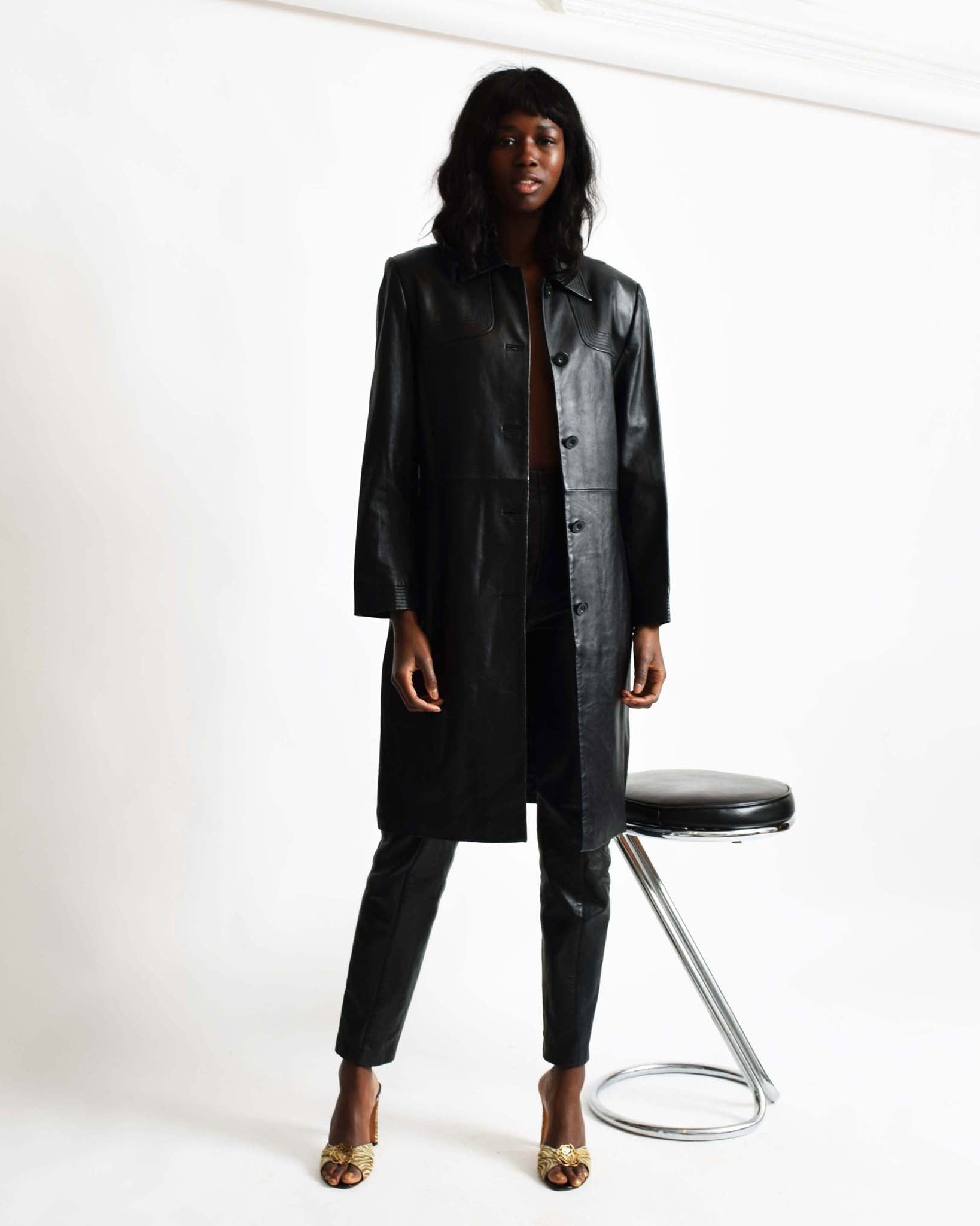 Vintage Topstitched Leather Trench