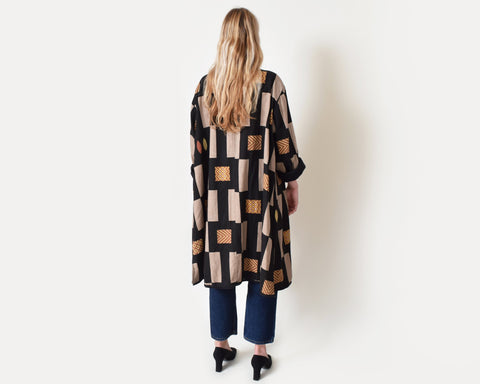 Vintage Graphic Duster Coat