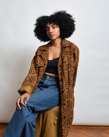 Vintage Suede Leather Duster Coat