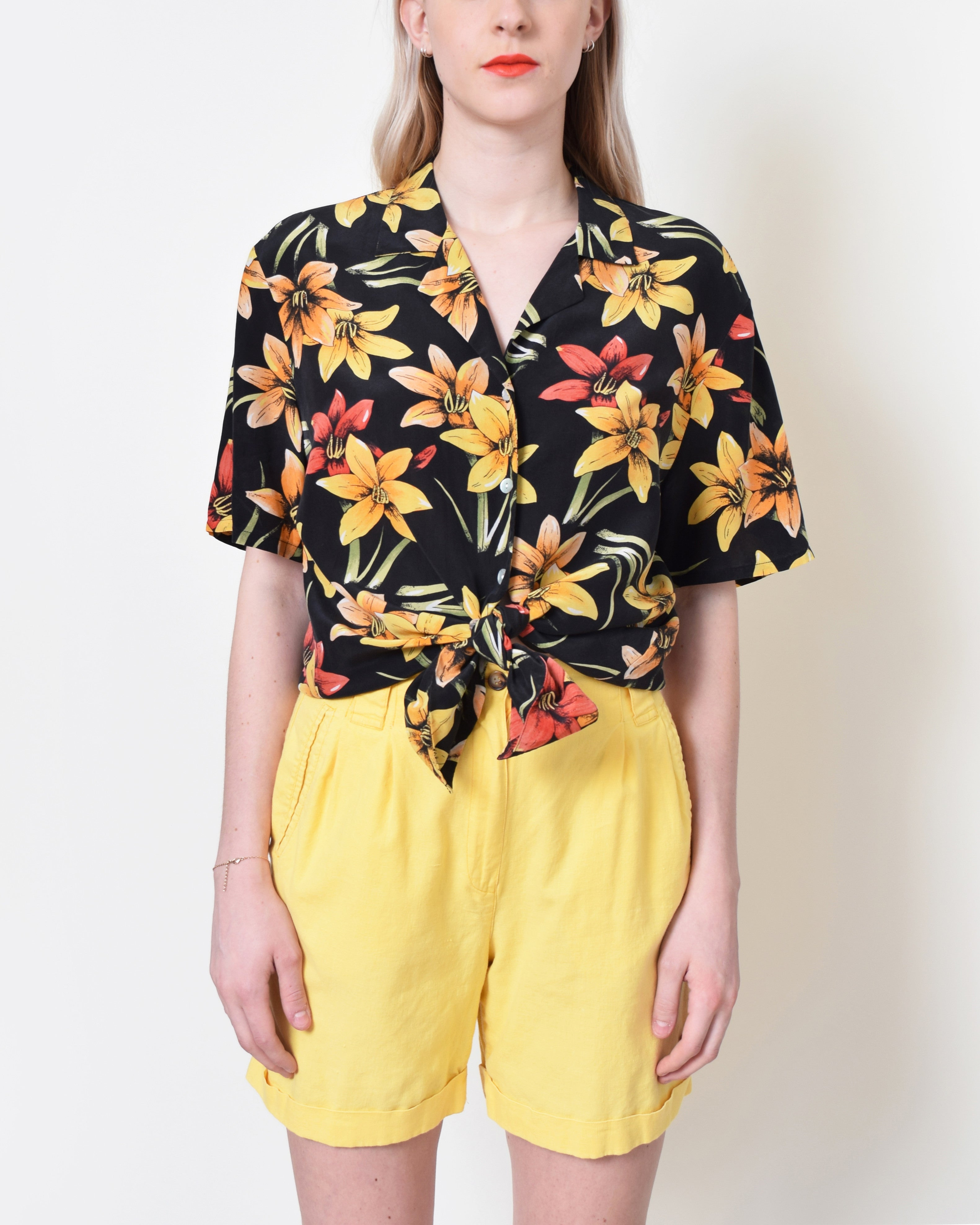 Vintage Tropical Silk Blouse