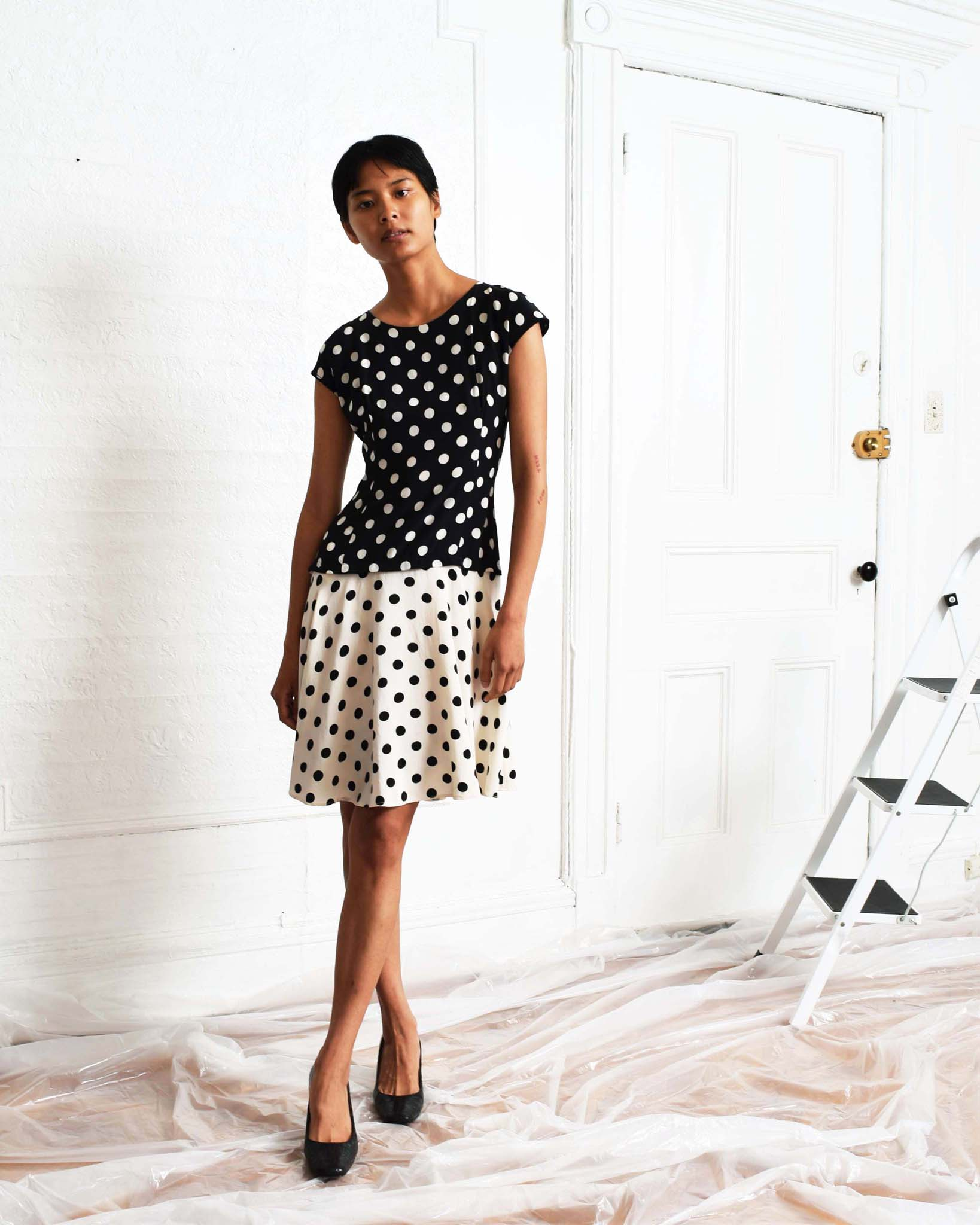 Vintage Polka Dot Silk Dress