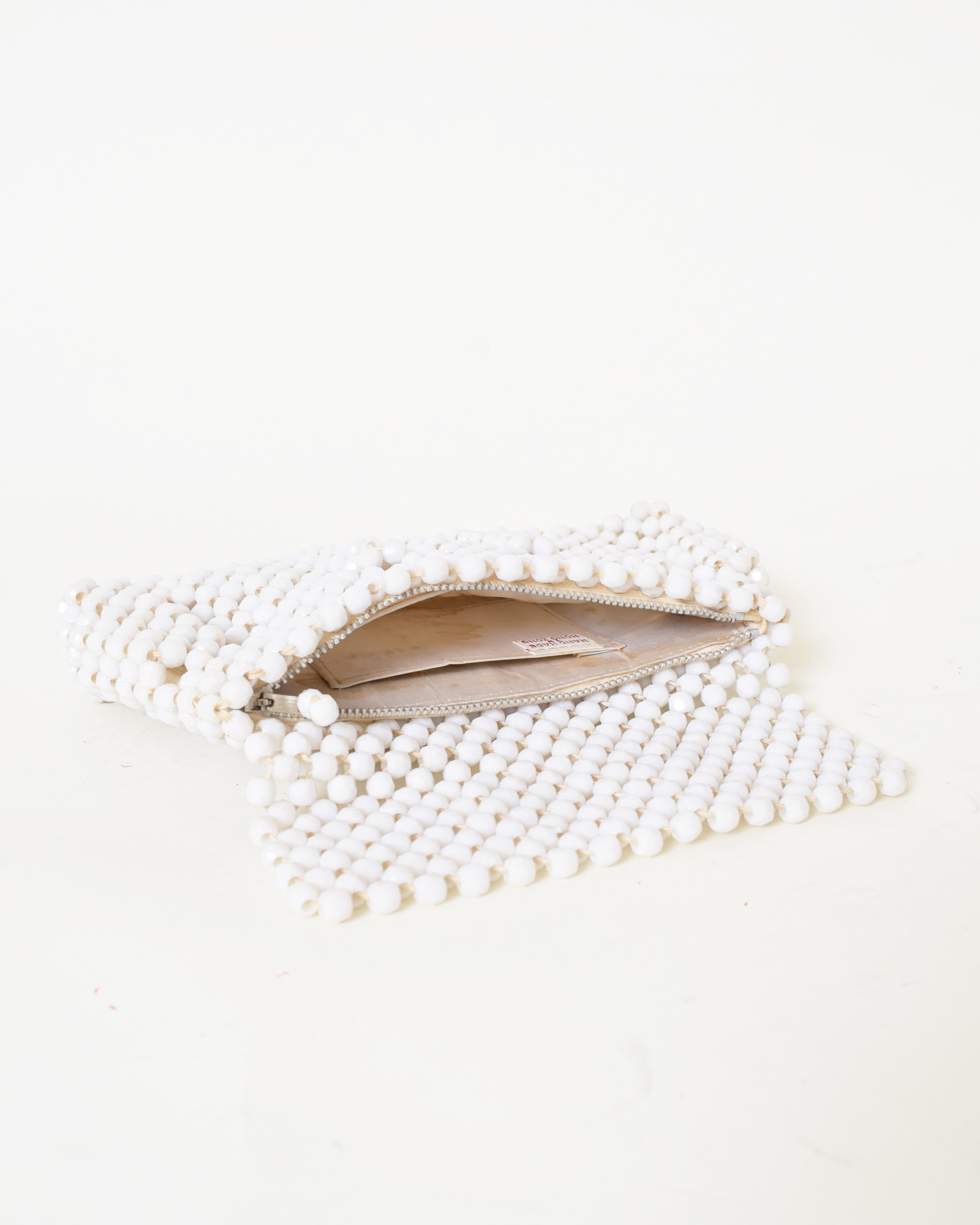 Vintage 1960s White Beaded Clutch