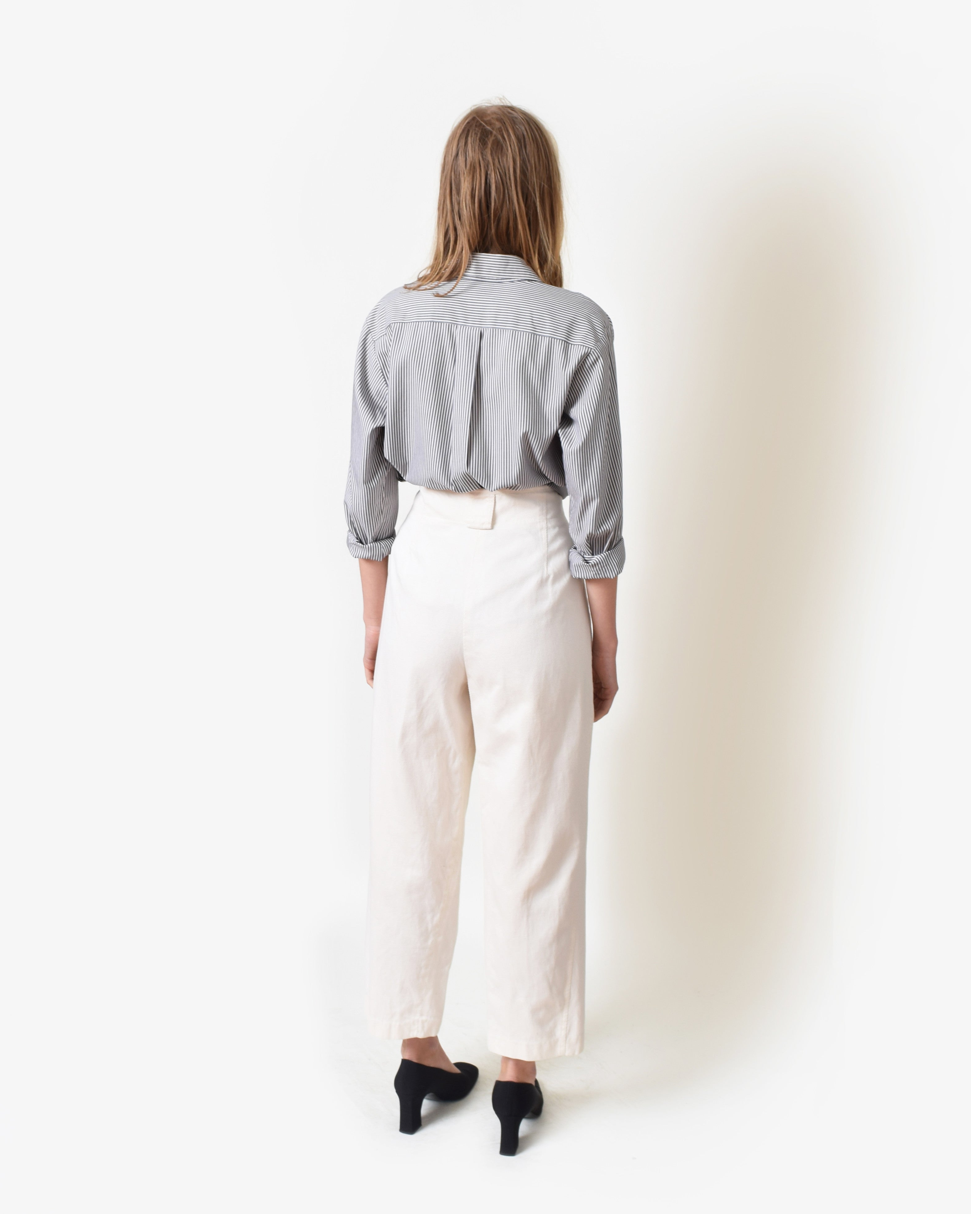 Vintage Ivory Cotton Twill Trousers