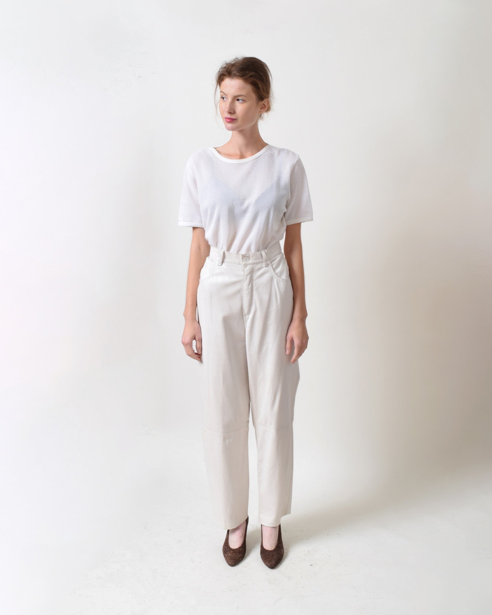 Vintage White Leather Pants