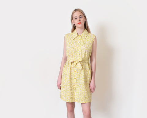 Vintage 1950s Yellow House Dress