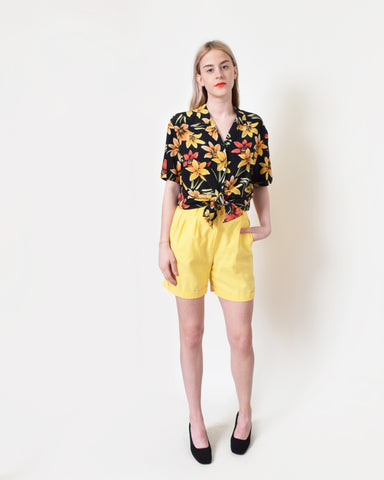 Vintage Yellow Linen Shorts