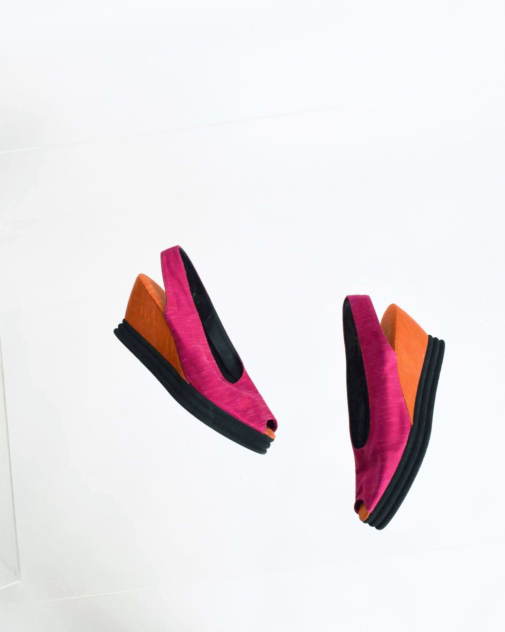 Vintage YSL Color Block Wedges, Size 8.5