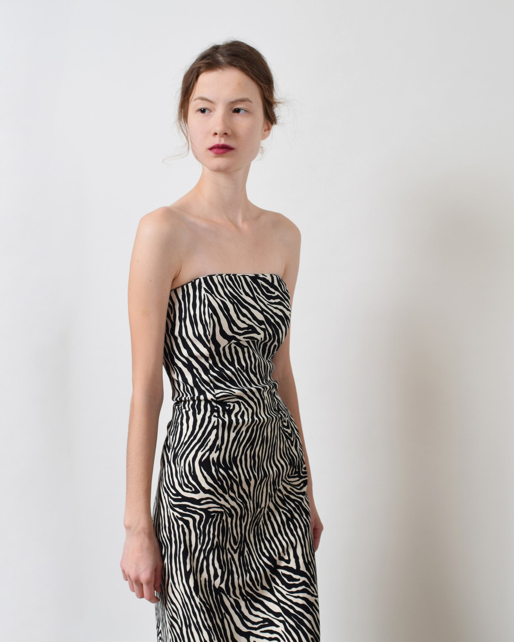 Jessica McClintock Zebra Strapless Dress