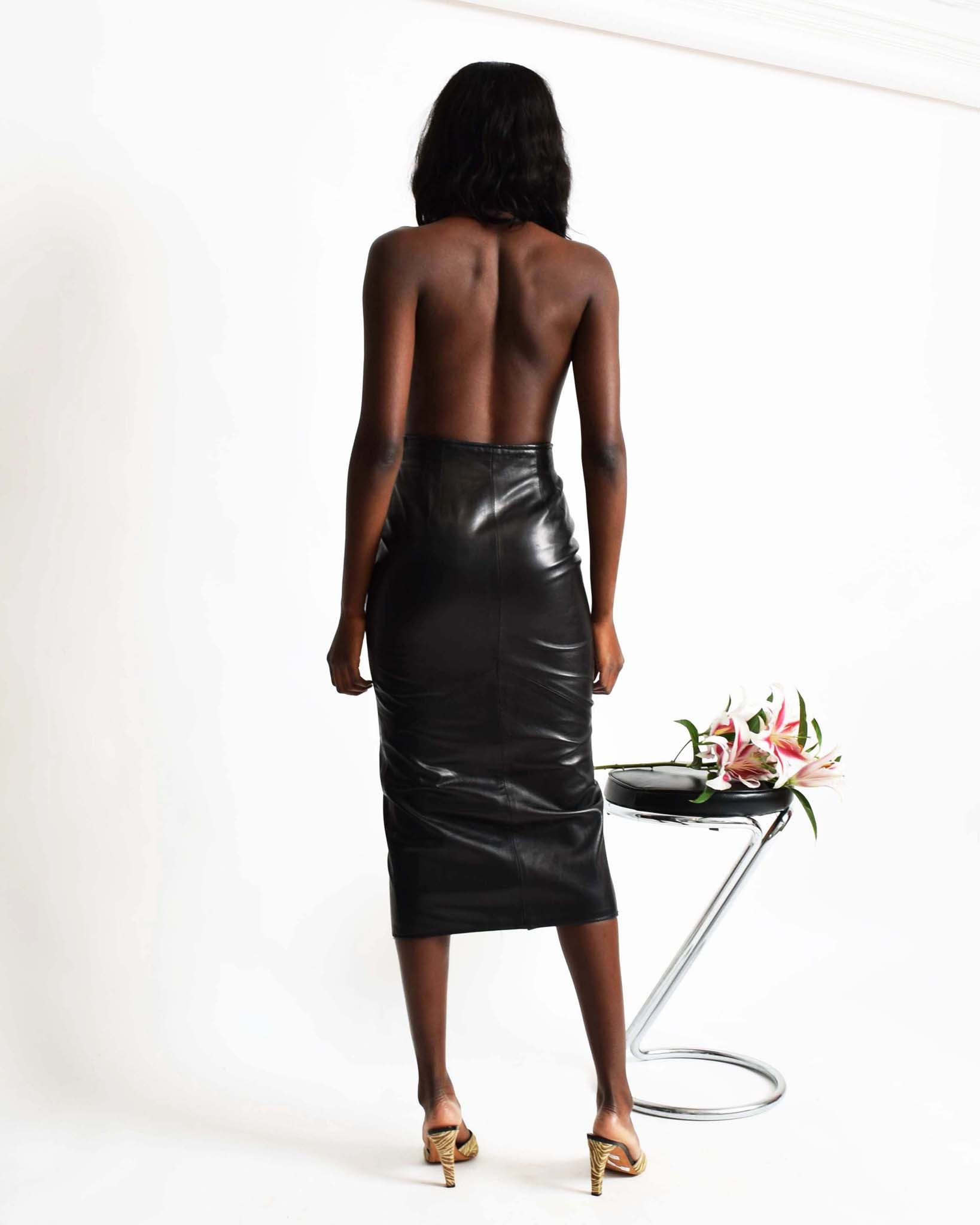Vintage Zippered Leather Skirt