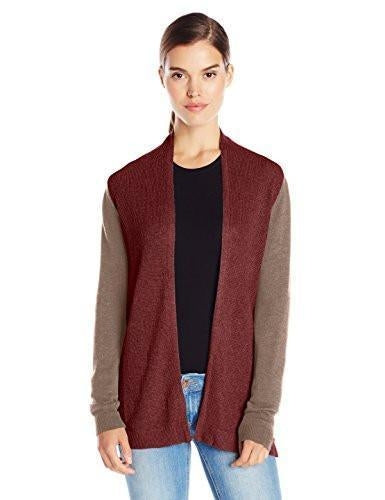bela.nyc Women's Mona Waffle Stitch Open Cardigan Sweater (Small/2, Teddy Multi)