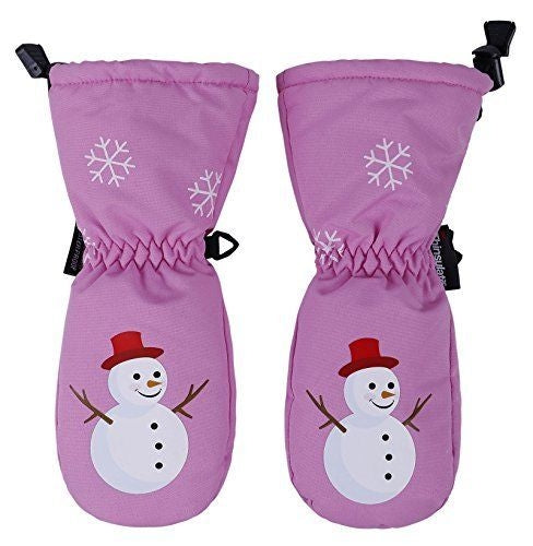 ANDORRA Kids Premium Weather-proof Thinsulate Snow Mittens, Snowman Print,M,Pink