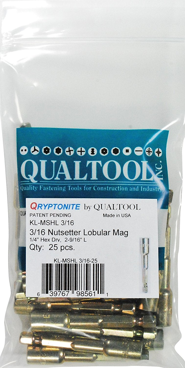 Qualtool Qryptonite KL-MSHL-3/16-25 3/16-Inch Impact Lobular Nutsetter, 25-Pack