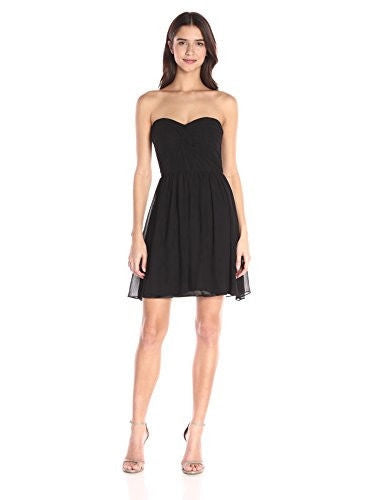 Minuet Women's Twist Ruched Bodice Short Dress, Black, Small