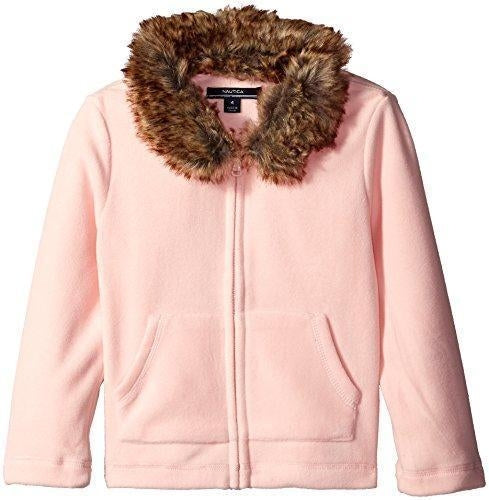 Nautica Big Girls Fleece Jacket with Removable Faux Fur Collar, Pale Pink, 12