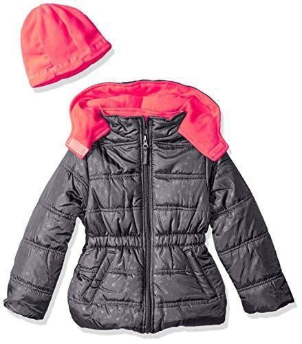Pink Platinum Girls' Star Printed Puffer with Hat (12 Months, Charcoal)