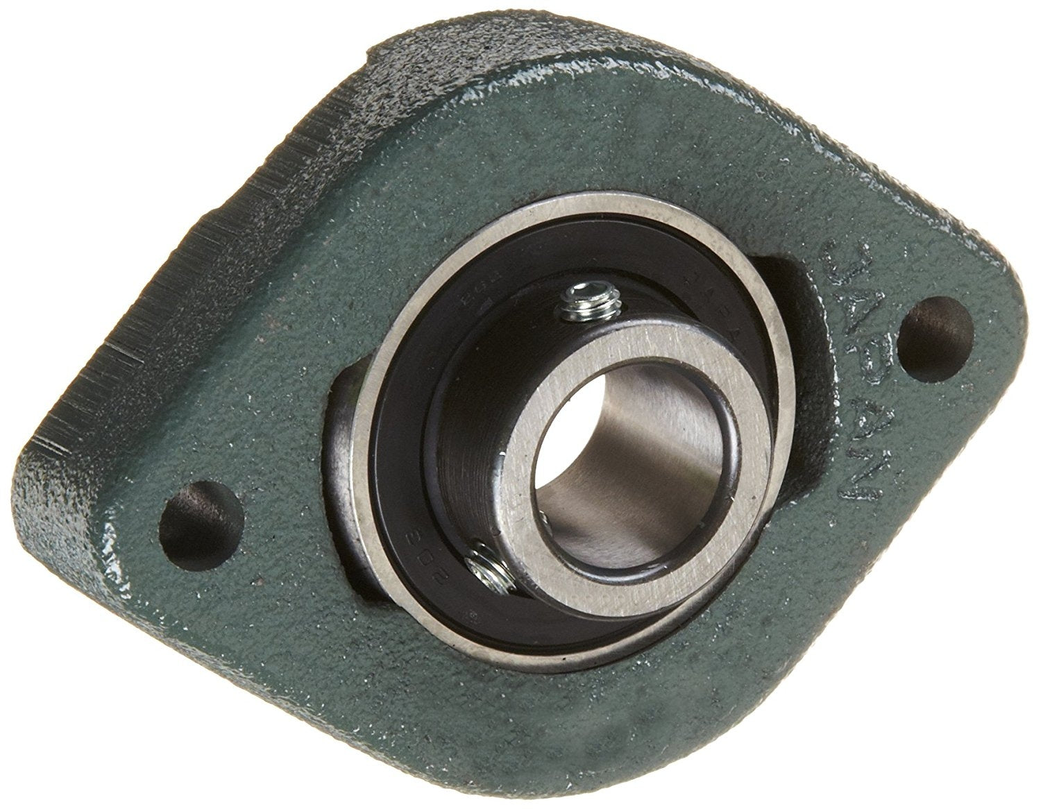 "NTN ARFLU-1.3/8 Light Duty Flange Bearing, 2 Bolts, Setscrew Lock, Non-Relubricatable, Contact Seals, Cast Iron, Inch, 1-3/8"" Bore, 5-1/8"" Bolt Hole Spacing Width, 6-5/32"" Height"