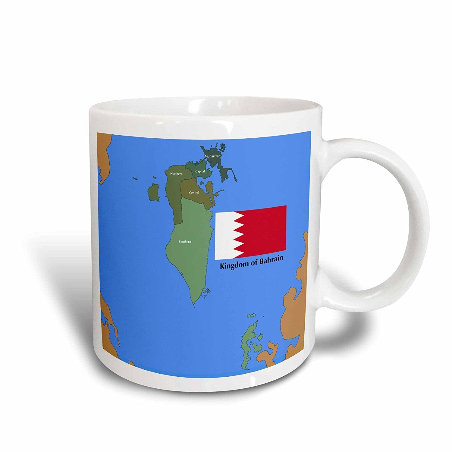 3dRose The Flag and Map of Bahrain with All Governing Regions Marked, Ceramic Mug, 15-Oz