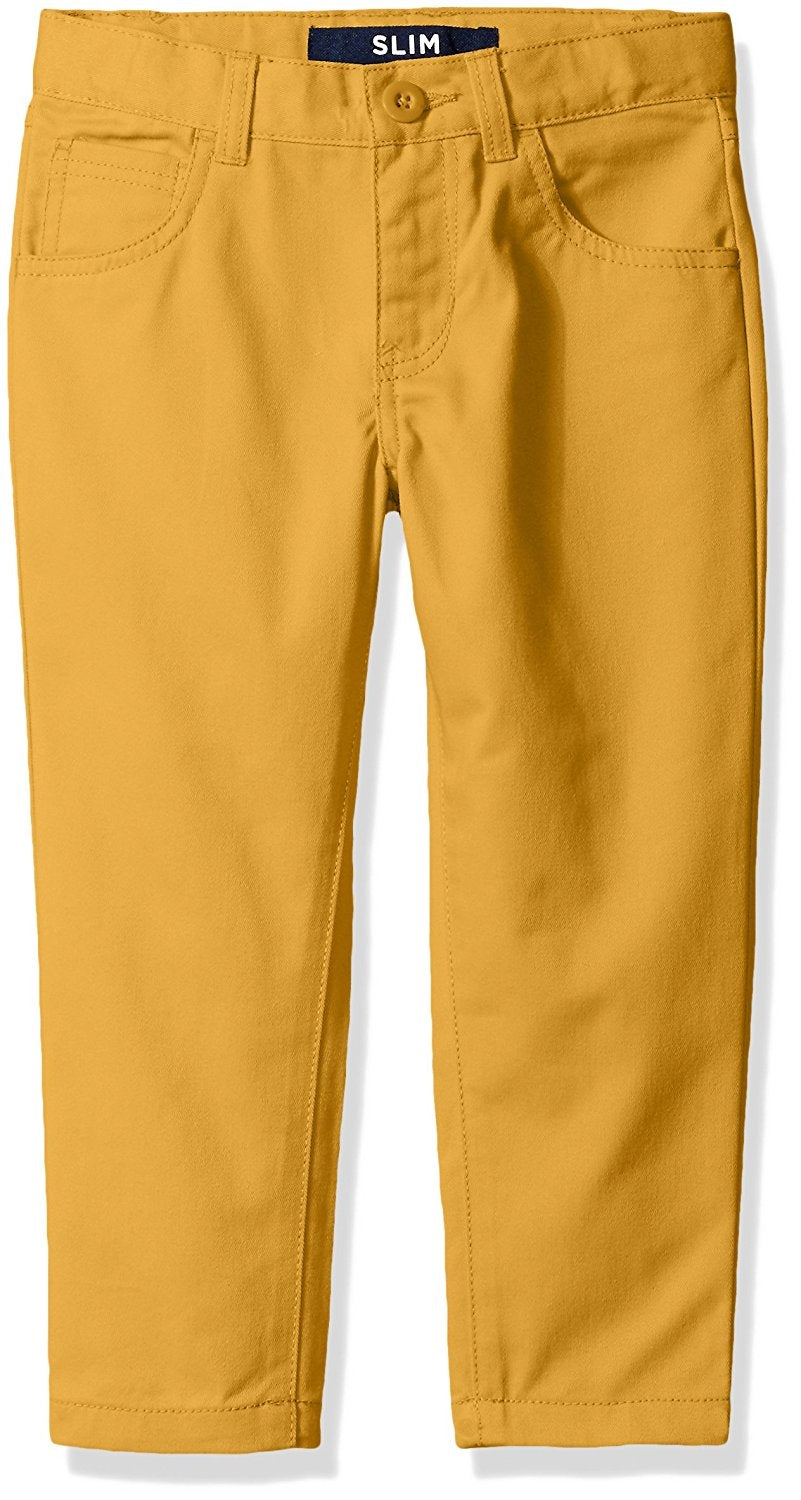 French Toast Big Boys' 5 Pocket Pant, Golden Yellow, Slim Fit, 14