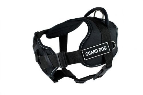 Dean & Tyler Black with Reflective Trim Fun Dog Harness with Padded Chest Piece, Guard Dog, Small, Fits Girth Size 22-Inch to 27-Inch