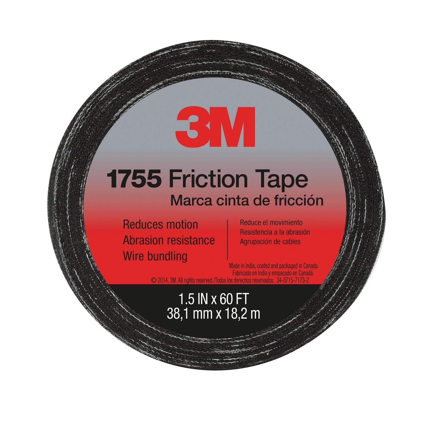 3M 57173-S-10 Temflex Friction Tape 1755, Black, 1.5 Inches X 60 Feet