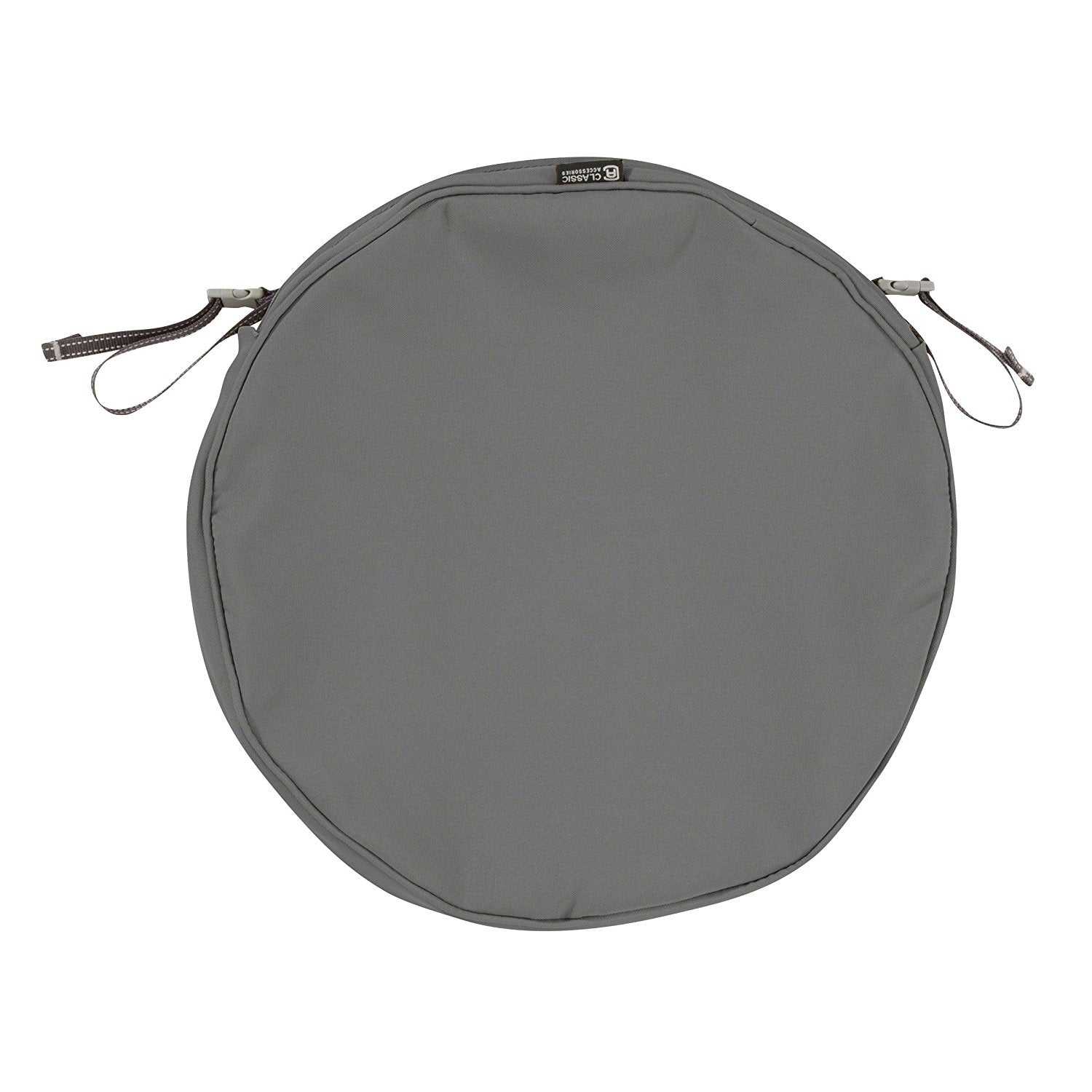 "Classic Accessories Montlake Patio Seat Cushion Slip Cover, Light Charcoal, 18"" Diameter x 2"""